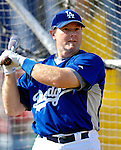 13 March 2007: Los Angeles Dodgers catcher Kelly Stinnett takes batting practice prior to facing the Detroit Tigers in a spring training game at Holman Stadium in Vero Beach, Florida.<br /> <br /> Mandatory Photo Credit: Ed Wolfstein Photo