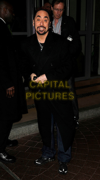 DAVID GEST .Spotted outside The Soho Hotel,.London, England, 21st April 2008..full length black Coat beard .CAP/CAN.©Can Nguyen/Capital Pictures