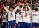 Second placed Serbian national handball team players Momir Ilic and Rastko Stojkovic after men`s EHF EURO 2012 handball championship  in Belgrade, Serbia, Sunday, January 29, 2011.  (photo: Pedja Milosavljevic / thepedja@gmail.com / +381641260959)