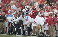 NWA Democrat-Gazette/J.T. WAMPLER Arkansas' Austin Cantrell can't make the catch as TCU's Niko Small defends Saturday Sept. 9, 2017 at Donald W. Reynolds Razorback Stadium in Fayetteville. Arkansas lost 28-7.
