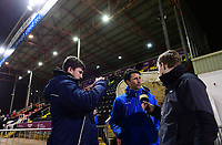 Lincoln City manager Danny Cowley is interviewed during the pre-match warm-up<br /> <br /> Photographer Chris Vaughan/CameraSport<br /> <br /> The EFL Sky Bet League Two - Lincoln City v Cheltenham Town - Tuesday 13th February 2018 - Sincil Bank - Lincoln<br /> <br /> World Copyright &copy; 2018 CameraSport. All rights reserved. 43 Linden Ave. Countesthorpe. Leicester. England. LE8 5PG - Tel: +44 (0) 116 277 4147 - admin@camerasport.com - www.camerasport.com