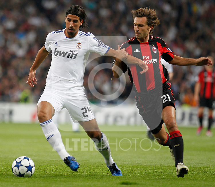 Real Madrid's Sami Khedira and Milan's Andrea Pirlo during champions league match ..Photo: Cesar Cebolla  / ALFAQUI
