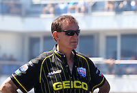 Sept. 21, 2013; Ennis, TX, USA: NHRA team owner Forrest Lucas during the Fall Nationals at the Texas Motorplex. Mandatory Credit: Mark J. Rebilas-