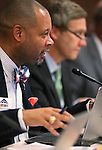 Nevada Sens. Aaron Ford, D-Las Vegas, and Greg Brower, R-Reno, work in committee at the Legislative Building in Carson City, Nev., on Monday, March 2, 2015. <br /> Photo by Cathleen Allison