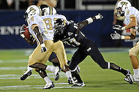 17 September 2011:  FIU defensive back Jose Cheeseborough (27) pursues UCF wide receiver Quincy McDuffie (14) in the second half as the FIU Golden Panthers defeated the University of Central Florida Golden Knights, 17-10, at FIU Stadium in Miami, Florida.