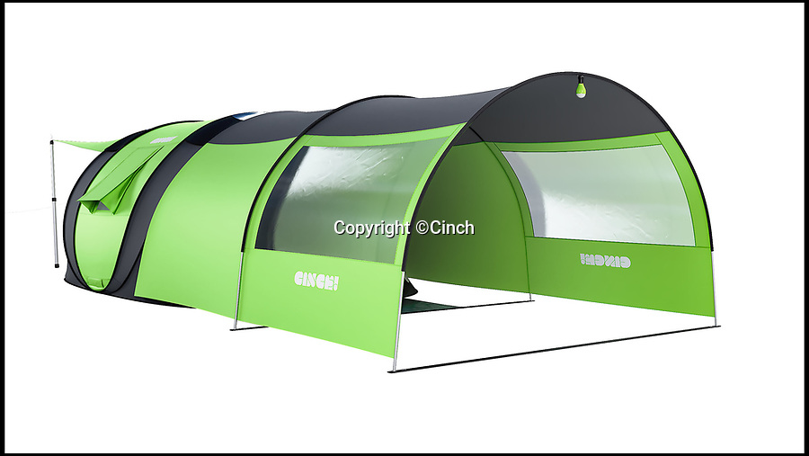 BNPS.co.uk (01202)558833Pic: Cinch/BNPS<br /> <br /> Solar power, climate control and phone-controlled LED lighting...<br /> <br /> Carry on Camping? - You will now with this British boffins invention of the worlds most luxurious and advanced tent.<br /> <br /> A tent that can be controlled from your smartphone is bringing home comforts to the campsite thanks to over £800,000 of crowd-funded money.<br /> <br /> Cinch Tents have been creating pop-up tents for several years but their latest offering 'The Hub' is set to take the camping world by storm.<br /> <br /> Described as 'the world's smartest tent' the canvas pop-up if fitted with solar panels which supply power all round the tent.<br /> <br /> All round the inside are a number of power points which can be used to charge campers' phones, and on the ceiling are electric lights, which are powered by the panels and controlled from an app.<br /> <br /> The app also allows campers to adjust the temperature inside the tent thanks to its state-of-the-art climate control.