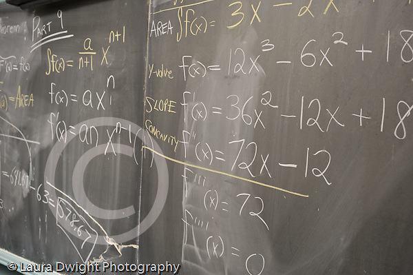 Education High School mathematics algebra equations on blackboard horizontal