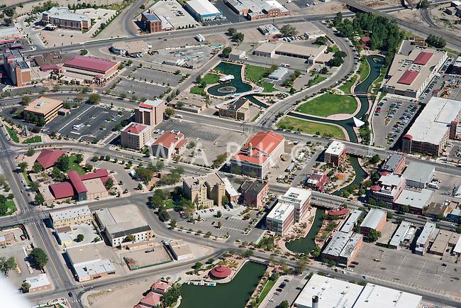 Aerial of downtown Pueblo, Colorado.