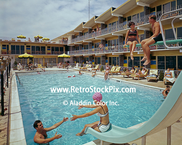 Couples by the pool of the Attache Motel in Wildwood, NJ. 1960's photograph.