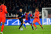 31st October 2017, St Jakob-Park, Basel, Switzerland; UEFA Champions League, FC Basel versus CSKA Moscow;  Konstantin Kuchaev of CSKA Moscow challenges Mohamed Elyounoussi of FC Basel for the ball