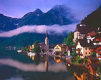 "Morning Fog at Hallstatt, ""World's Most Beautiful Lakeside Village"", Salzkammergut, Austria"