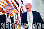 Joe Brolly on stage with Kerry captain Kieran Donaghy at the Austin Stacks fundraiser at Ballygarry house hotel on Friday.