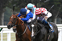 Winner of The Whiteparish Handicap  Amazon Princess (red/white) ridden by George Rooke and trained by Tony Newcombe during Horse Racing at Salisbury Racecourse on 13th August 2020