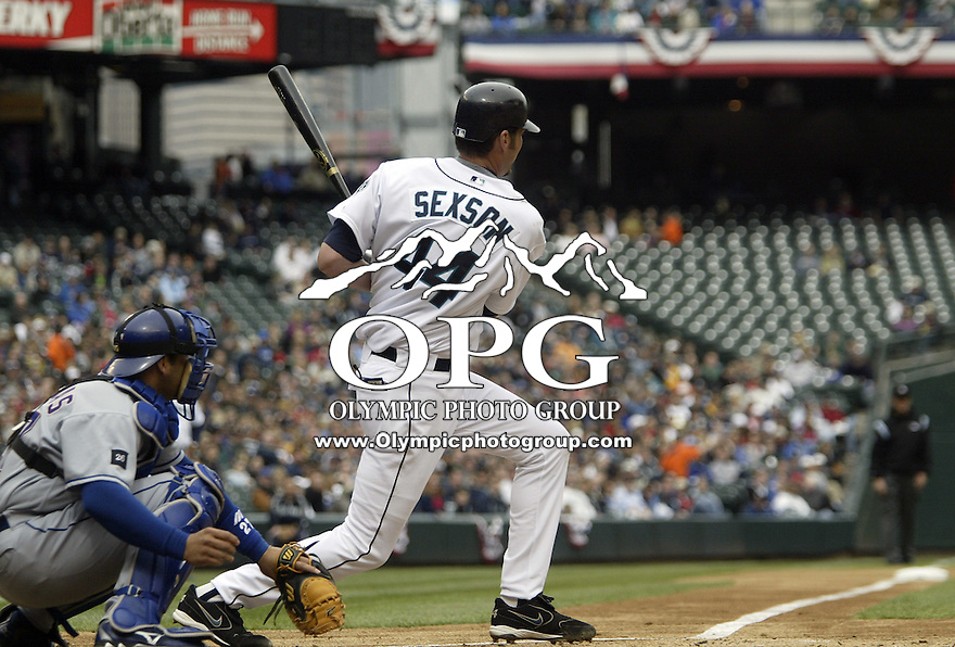 10 April 2005: Seattle Mariners first basemen Richie Sexon hits a line drive against the Texas Rangers at Safeco field in Seattle, WA.