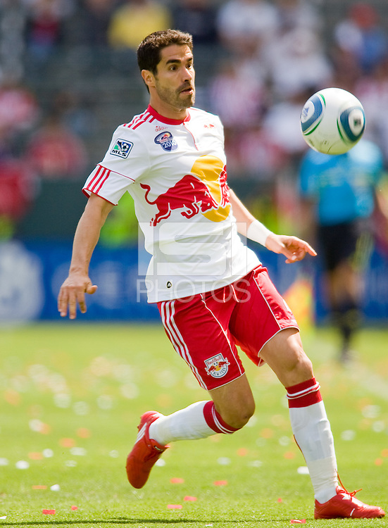 NY RedBulls forward Juan Pablo Angel moves with the ball. Chivas USA defeated the Red Bulls of New York 2-0 at Home Depot Center stadium in Carson, California April 10, 2010.  .