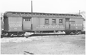 #54 baggage &amp; RPO car at Durango.  Side view.<br /> D&amp;RGW  Durango, CO  Taken by Ingersol, Darrell - 5/17/1947