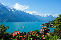 CHE, SCHWEIZ, Kanton Bern, Berner Oberland, Oberried am Brienzersee: Ausflugsschiff | CHE, Switzerland, Bern Canton, Bernese Oberland, Oberried at Lake Brienz: excursion boat