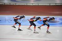 SCHAATSEN: SALT LAKE CITY: Utah Olympic Oval, 16-11-2013, Essent ISU World Cup, Team Pursuit, Alexis Contin, Ewen Fernandez, Benjamin Macé (FRA), ©foto Martin de Jong