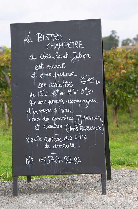 Chalk board for the Bistro Champetre. Clos Saint Julien, Saint Emilion, Bordeaux, France
