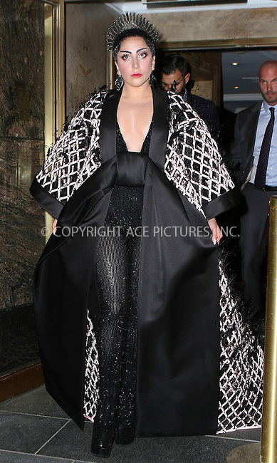 WWW.ACEPIXS.COM<br /> <br /> May 4 2015, New York City<br /> <br /> Lady Gaga on the night of the Met Gala on May 4 2015 in New York City<br /> <br /> By Line: Nancy Rivera/ACE Pictures<br /> <br /> <br /> ACE Pictures, Inc.<br /> tel: 646 769 0430<br /> Email: info@acepixs.com<br /> www.acepixs.com
