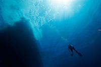 Diver ascending to boat, Bahama Islands