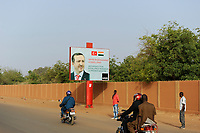 NIGER Niamey, turkish influence in africa, billboard with turkish president Recep Tayyip Erdoğan for a state visit in Niger