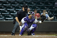 Winston-Salem Dash catcher Yermin Mercedes (6) sets a target as home plate umpire Ben Phillips looks on during the game against the Myrtle Beach Pelicans at BB&T Ballpark on August 6, 2018 in Winston-Salem, North Carolina. The Dash defeated the Pelicans 6-3. (Brian Westerholt/Four Seam Images)