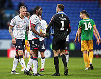Players from both teams shake hands at the end of the match <br /> <br /> Photographer Andrew Kearns/CameraSport<br /> <br /> The EFL Sky Bet Championship - Bolton Wanderers v Preston North End - Saturday 9th February 2019 - University of Bolton Stadium - Bolton<br /> <br /> World Copyright © 2019 CameraSport. All rights reserved. 43 Linden Ave. Countesthorpe. Leicester. England. LE8 5PG - Tel: +44 (0) 116 277 4147 - admin@camerasport.com - www.camerasport.com
