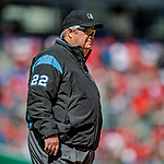 5 April 2018: MLB Umpire Joe West works at third base during a game between the Washington Nationals and the New York Mets at Nationals Park in Washington, DC. The Mets defeated the Nationals 8-2 in the first game of their 3-game series. Mandatory Credit: Ed Wolfstein Photo *** RAW (NEF) Image File Available ***