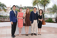 "Yu Junsang, Moon Sori, Isabelle Huppert, Hong Sangsoo and Youn Yuh-jung attending the ""Da-reun Na-ra-e-suh (In Another Country)"" Photocall during the 65th annual International Cannes Film Festival in Cannes, France, 21th May 2012...Credit: Timm/face to face / Mediapunchinc"