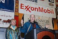 Alaska Governor Bill Walker and the first lady speak at the finishers banquet in Nome on Sunday  March 22, 2015 during Iditarod 2015.  <br /> <br /> (C) Jeff Schultz/SchultzPhoto.com - ALL RIGHTS RESERVED<br />  DUPLICATION  PROHIBITED  WITHOUT  PERMISSION