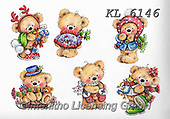 Interlitho-Theresa, CHRISTMAS ANIMALS, WEIHNACHTEN TIERE, NAVIDAD ANIMALES, paintings+++++,6 teddies,KL6146,#xa# ,sticker,stickers