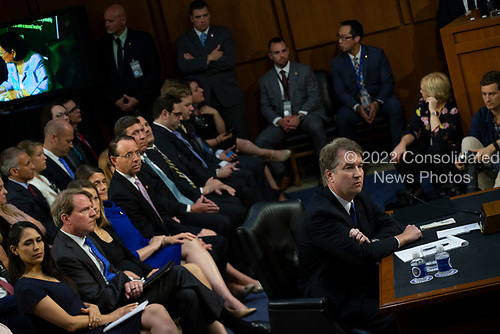 Judge Brett Kavanaugh looks on as Democrats and Republicans debate during a hearing before the United States Senate Judiciary Committee on his nomination as Associate Justice of the US Supreme Court to replace the retiring Justice Anthony Kennedy on Capitol Hill in Washington, DC on Tuesday, September 4, 2018.Credit: Alex Edelman / CNP