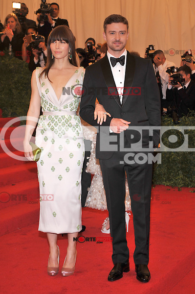 Jessica Biel and Justin Timberlake at the 'Schiaparelli And Prada: Impossible Conversations' Costume Institute Gala at the Metropolitan Museum of Art on May 7, 2012 in New York City. ©mpi03/MediaPunch Inc.