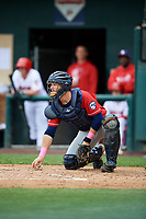 New Hampshire Fisher Cats catcher Ryan Hissey (20) recovers a loose ball during the first game of a doubleheader against the Harrisburg Senators on May 13, 2018 at FNB Field in Harrisburg, Pennsylvania.  New Hampshire defeated Harrisburg 6-1.  (Mike Janes/Four Seam Images)