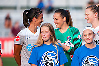 Kansas City, MO - Thursday August 10, 2017: Abby Erceg, Katelyn Rowland during a regular season National Women's Soccer League (NWSL) match between FC Kansas City and the North Carolina Courage at Children's Mercy Victory Field.