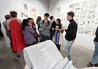 "Opening reception for the senior Studio Art comprehensive exhibit, ""Syndicate: A Comprehensive Exhibition"" which features the ten studio art majors from the Class of 2020 working in a wide range of media, including sculpture, ceramics, performance art, photography, painting, drawing and a graphic novel. Dec. 5, 2019 at Oxy Arts on York.<br /> Featuring: August Barringer's work, ""Effulgence, 2019""; Emma Connelly's work, ""Vessels (Vesica Piscis)""; Naomi Field's work, ""Flash to Coral Bleaching, 2019""; Tyler Ivy's work, ""Take a Break, 2019""; Makayla Keasler's work, ""Let Them Be, 2019""; Samantha Moua's work, ""Soul Lock: Reclamation of a Diasporic Identity""; Sarah Ruiz's work, ""Hear Me/See Me, 2019""; Bryan Suh's work, ""I Am Whole, 2019""; Dahlia Theriault's work, ""Black Pomegranates, 2019"" and Chengtian (Jason) Yu's work, ""Untitled, 2019"".<br /> (Photo by Marc Campos, Occidental College Photographer)"