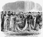 RUSSIA: ROYAL WEDDING, 1866. /nThe weddding in St. Petersburg, Russia, 1866, of the Czarevitch Alexander (later Czar Alexander III) and Princess Dagmar of Denmark. Wood engraving from a contemporary English newspaper.