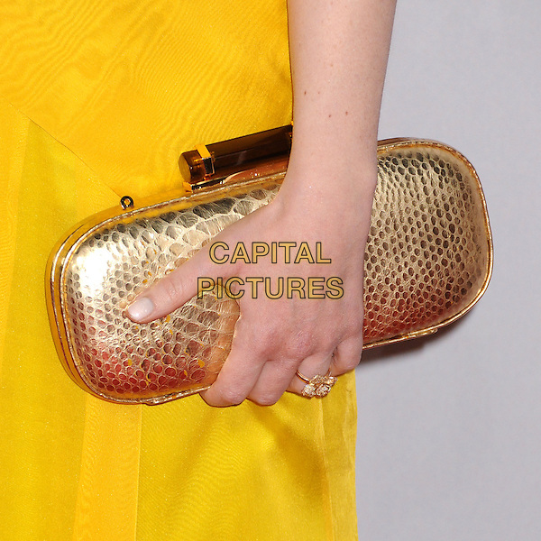 Melissa Rauch's bag.People's Choice Awards 2013 - Arrivals held at Nokia Theatre L.A. Live, Los Angeles, California, USA..January 9th, 2013.detail gold clutch bag yellow  .CAP/ADM/BP.©Byron Purvis/AdMedia/Capital Pictures.