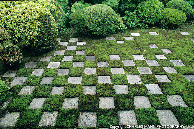 A checkerboard mosaic of stones and moss at the Tofukuji Temple in southeast Kyoto  is a picture of simple Zenlike elegance.