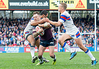 Picture by Allan McKenzie/SWpix.com - 08/04/2018 - Rugby League - Betfred Super League - Wakefield Trinity v Leeds Rhinos - The Mobile Rocket Stadium, Wakefield, England - Richie Myler is tackled by Bill Tupou.