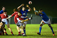 Wales U20's Harri Morgan kicks upfield<br /> <br /> Photographer Richard Martin-Roberts/CameraSport<br /> <br /> Six Nations U20 Championship Round 4 - Wales U20s v Italy U20s - Friday 9th March 2018 - Parc Eirias, Colwyn Bay, North Wales<br /> <br /> World Copyright &not;&copy; 2018 CameraSport. All rights reserved. 43 Linden Ave. Countesthorpe. Leicester. England. LE8 5PG - Tel: +44 (0) 116 277 4147 - admin@camerasport.com - www.camerasport.com