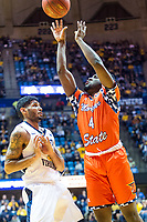 Morgantown, WV - NOV 18, 2017: Morgan State Bears guard Kyson Rawls (4) goes up for a basket during game between West Virginia and Morgan State at WVU Coliseum Morgantown, West Virginia. (Photo by Phil Peters/Media Images International)