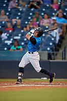 Tampa Tarpons Kyle Gray (4) bats during a Florida State League game against the Jupiter Hammerheads on July 26, 2019 at George M. Steinbrenner Field in Tampa, Florida.  Tampa defeated Jupiter 4-3.  (Mike Janes/Four Seam Images)