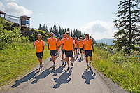 Austria, Kitzbuhel, Juli 15, 2015, Tennis, Davis Cup, Dutch team on top of the &quot;Hahnenkam&quot;  <br /> Photo: Tennisimages/Henk Koster