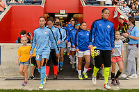 Chicago, IL - Saturday July 30, 2016: Vanessa DiBernardo, Nicole Barnhart prior to a regular season National Women's Soccer League (NWSL) match between the Chicago Red Stars and FC Kansas City at Toyota Park.