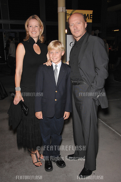 "Writer/director Paul Haggis & wife Deborah Rennard & son James Haggis at the Los Angeles premiere of his new movie ""In the Valley of Elah""..September 14, 2007  Los Angeles, CA.Picture: Paul Smith / Featureflash"
