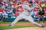 7 October 2016: Los Angeles Dodgers starting pitcher Clayton Kershaw on the mound during Game 1 of the NLDS against the Washington Nationals at Nationals Park in Washington, DC. The Dodgers edged out the Nationals 4-3 to take the opening game of their best-of-five series. Mandatory Credit: Ed Wolfstein Photo *** RAW (NEF) Image File Available ***