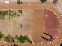 Velódromo y estadio de futbol Héroe de Nacozari. Vista aérea.  CUM, Unidad deportiva. Complejo Deportivo. Sport complex. Sport. Sports. Soccer, Cancha, Cancha de futbol, pista, pista de atletismo. <br /> (Photo: Luis Gutierrez)