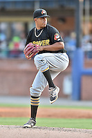 West Virginia Power starting pitcher Dario Agrazal (44) delivers a pitch during a game against the Asheville Tourists at McCormick Field on June 24, 2016 in Asheville, North Carolina. The Power defeated the Tourists 11-3. (Tony Farlow/Four Seam Images)